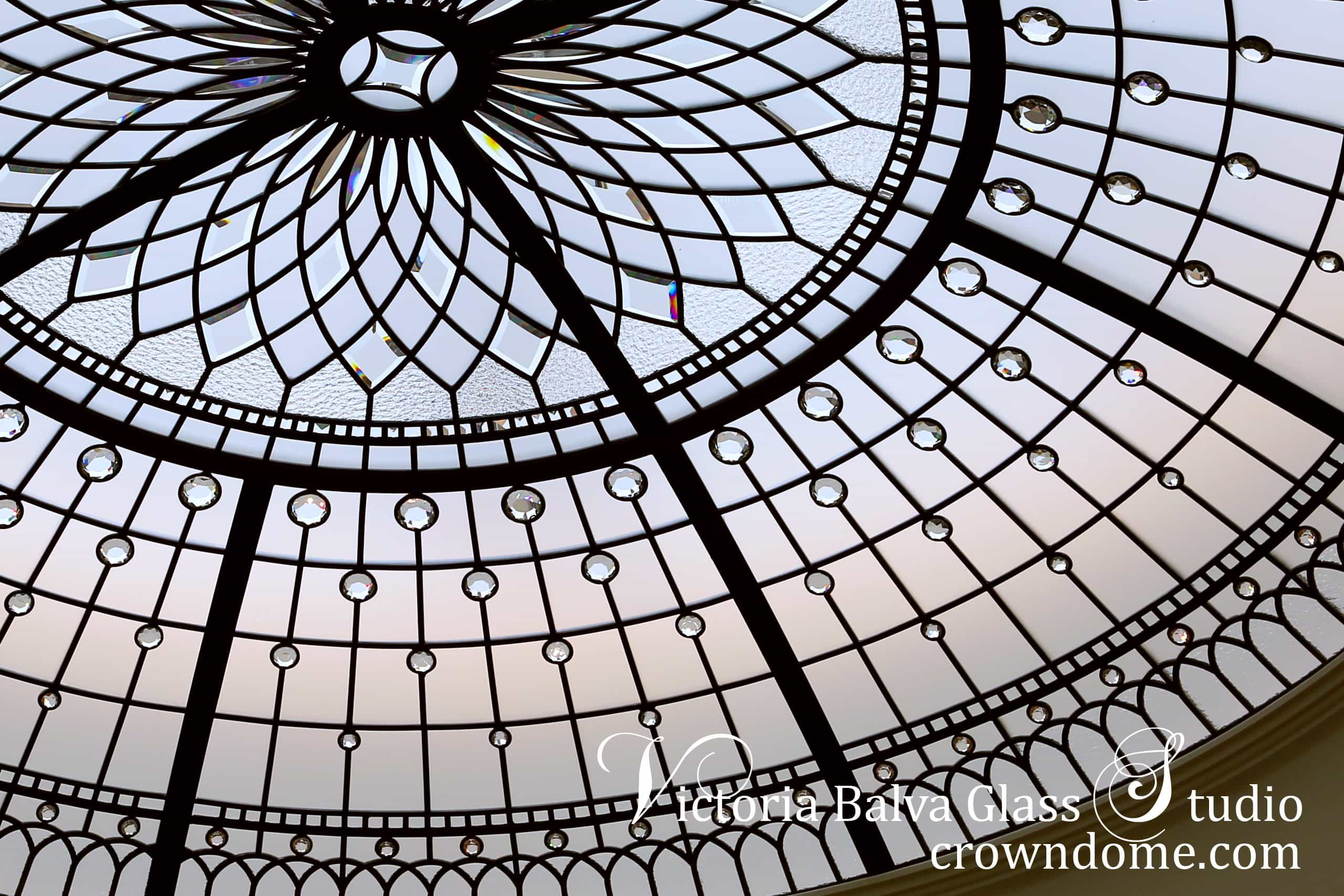 stained leaded glass dome ceiling lens roof skylight