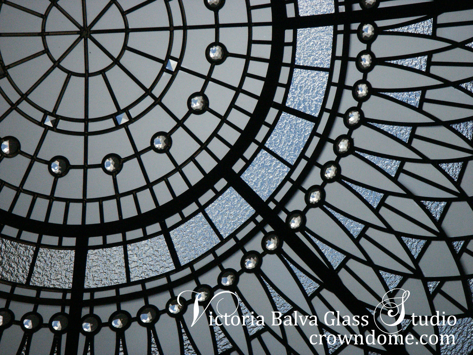 Elegant stained leaded glass dome ceiling Irene custom designed and manufactured by glass artist Victoria Balva