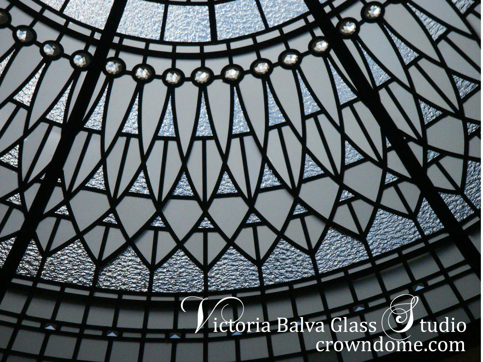 Luxury Beautiful stained leaded glass dome ceiling Irene custom designed and manufactured for a foyer of a custom built residence in Richmond Hill. Clear textured glassed in combination with accent jewels and beveled glass resette ornament