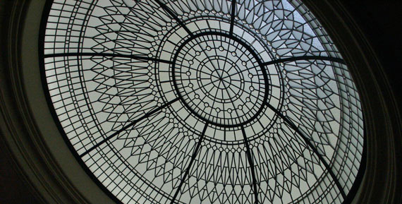 Beveled stained leaded  glass dome skylight Irene