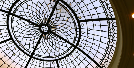 Stained glass dome design Silver Words in minimalistic style