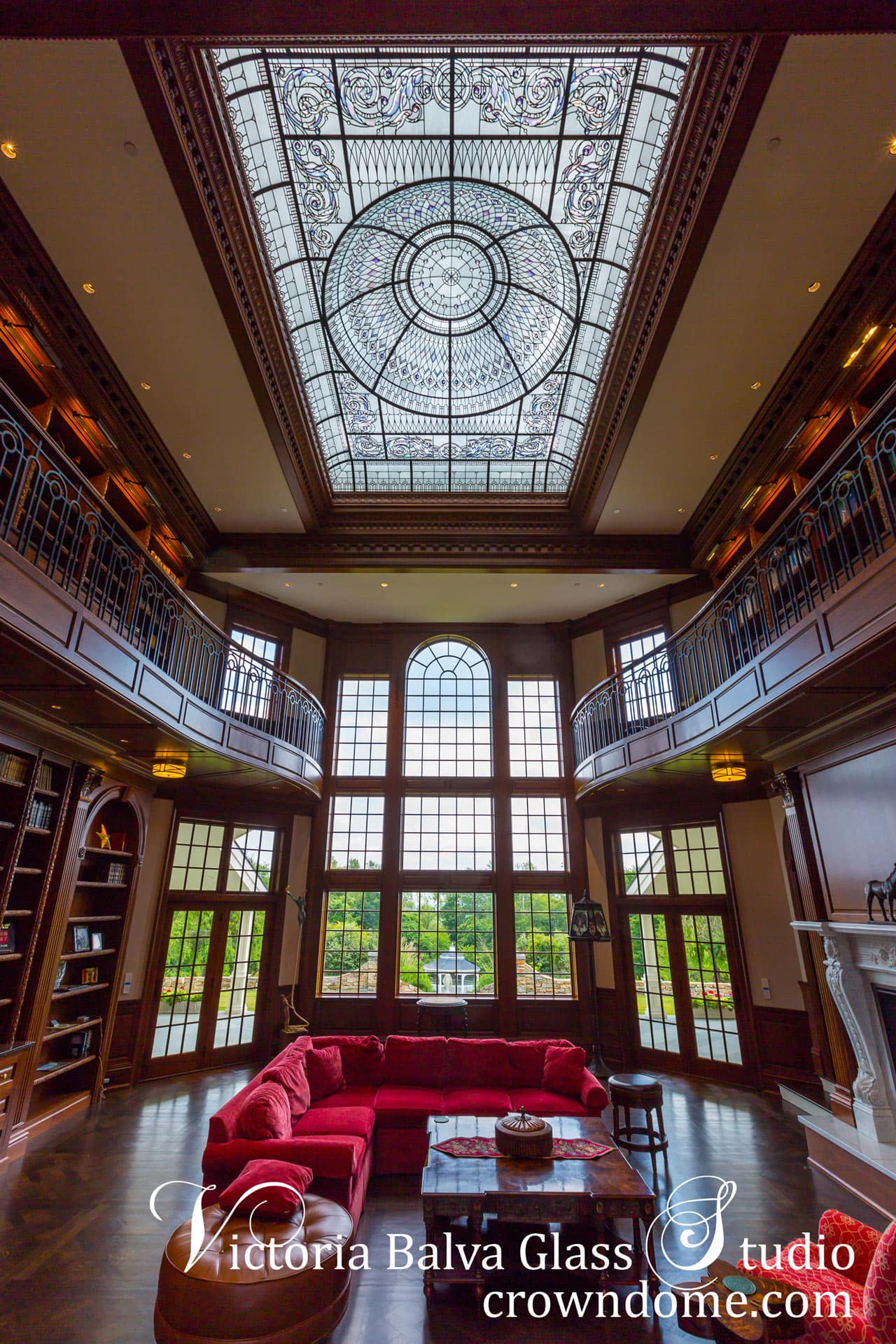 Stained leaded glass dome New Haven for a luxury custom built residence in Connecticut. Acid etched glass, hand beveled colored glass, crystal diamond jewels, complex frame structure, delicate elusive colors make this stained leaded glass dome one of the most impressive projects in North America