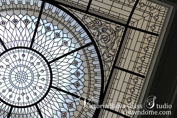 Large stained and leaded glass dome ceiling for a grand entrance of the custom built house in Toronto with clear textured glass and crystal accent jewels