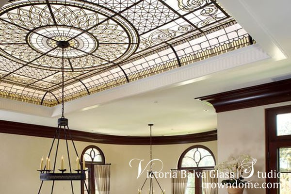 Ivory and white opal stained and leaded glass domed ceiling inspired by classical ornaments for a custom built house in Scarsdale, New York