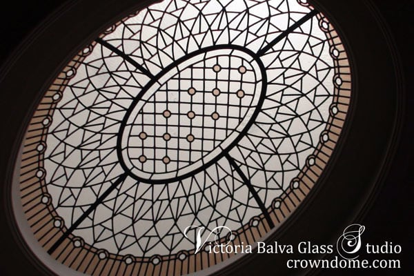 Stained leaded glass oval dome for a hallway of a custom built residence in Toronto