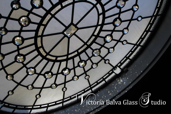 Contemporary stained leaded glass window