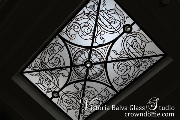 Stained leaded skylight ceiling with crystal jewels and bevelled glasss in classic style for a halwasy of a custom built estate in King City