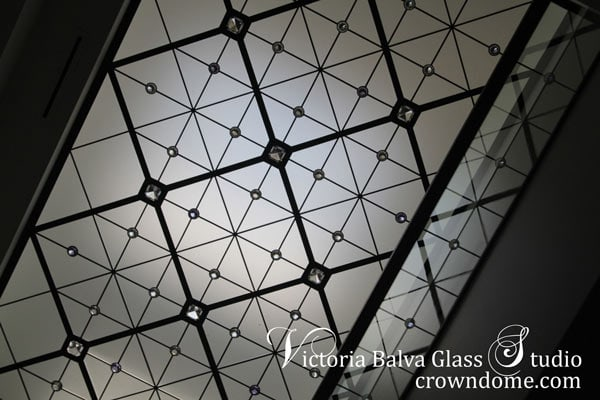 Contemporary minimalistic stained leaded glass skylight ceiling lens with extra large and small crystal jewels for a modern custom built residence Toronto
