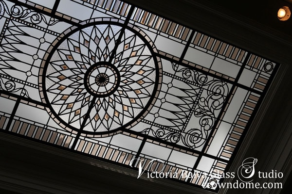 Stained leaded glass skylight ceiling with coloured hand bevelled glass for a great entrance fouer of a custom built house in Mississauga