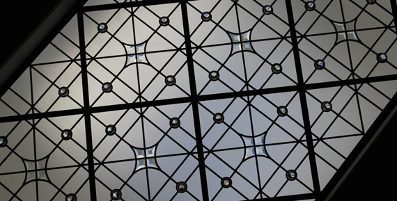 Custom stained leaded glass skylight Milky Way