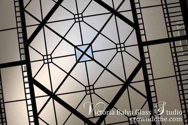 Stained leaded glass skylight ceiling for a master bathroom custom built residence in Toronto
