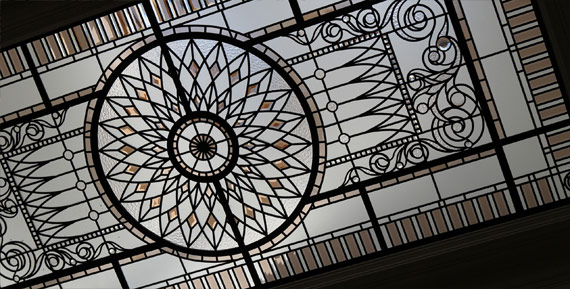 Large leaded glass skylight ceiling Marion