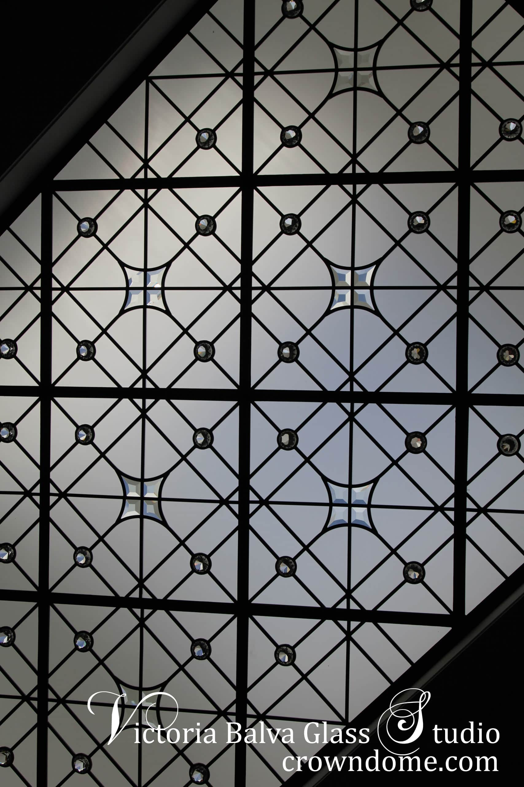 Geometric stained leaded glass skylight ceiling accent custom hand bevelled 8mm optic-white glass stars clear crystal jewels acid etched glass foyer custom built luxury home