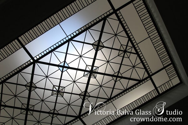 Stained leaded glass skylight bevelled glass for staircase landing
