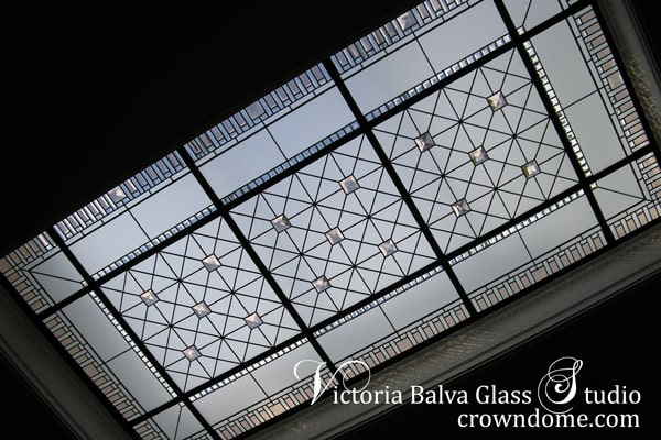 Stained and leaded decorative glass skylight ceiling with colored beveled glass and large crystal jewels