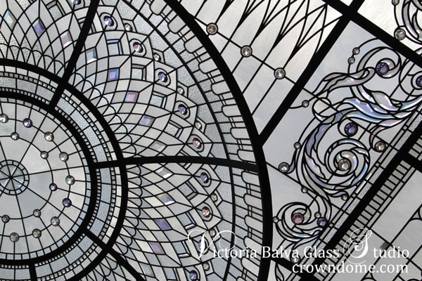 Stained leaded glass dome skylight with delicate elusive colours of custom beveled glass and crystal jewels for custom built house in Connecticut