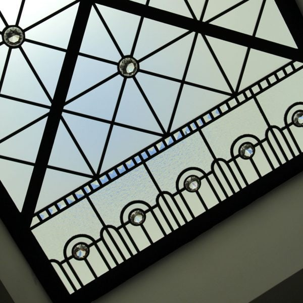 Small stained and leaded glass skylight ceilings with beveled glass and clear crystal jewels. Stained leaded glass design by stained glass artist Victoria Balva