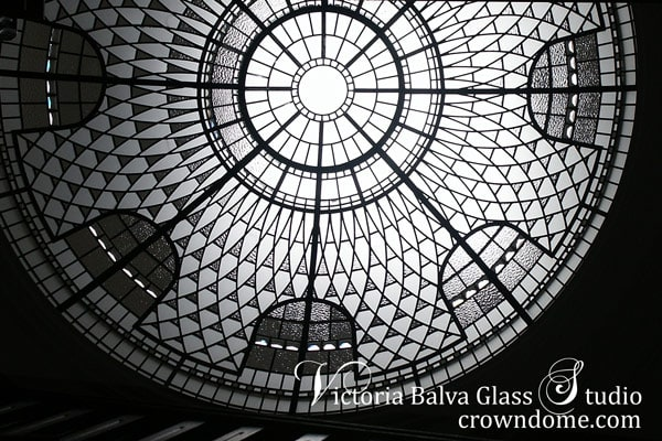 Stained leaded glass dome skylight with crystal jewels and crystal clear and textured glass for a great foyer of a custom built residence in Toronto